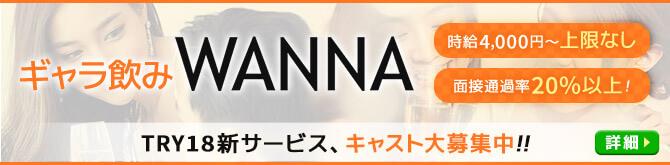 ギャラ飲みWANNA キャスト大募集中!! 時給4千円~上限なし、面接通過率20%以上!