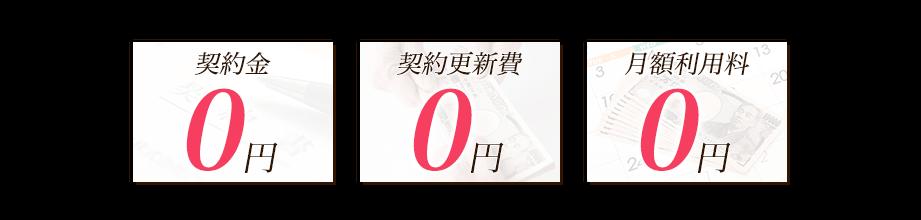 契約料・契約更新費・月額利用料が0円